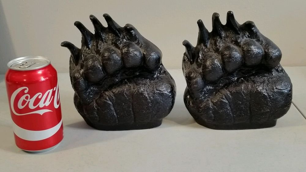 Vintage FC & JJ CRAIGHEAD Cast Metal Bear Paw Print Claws BOOKEND SET