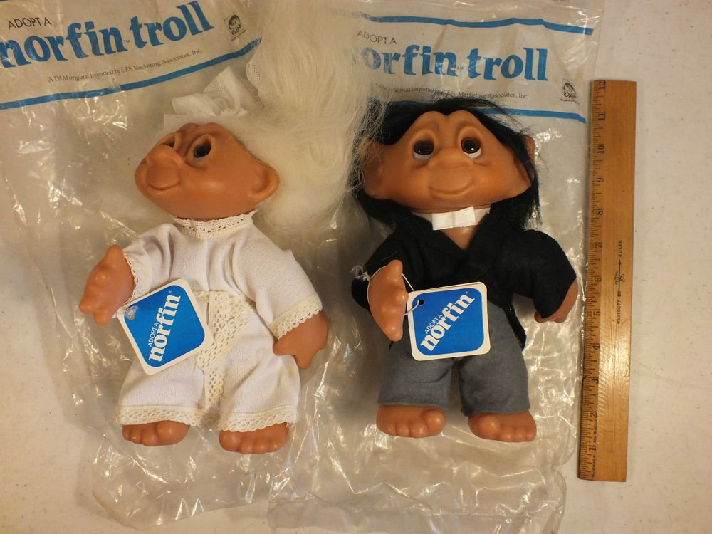 "Vintage 1977 Thomas Dam Norfin Troll Doll 10"" Bride and Groom"
