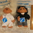 "Vintage 1977 Thomas Dam Norfin Troll Doll 10"" Bride and Groom"