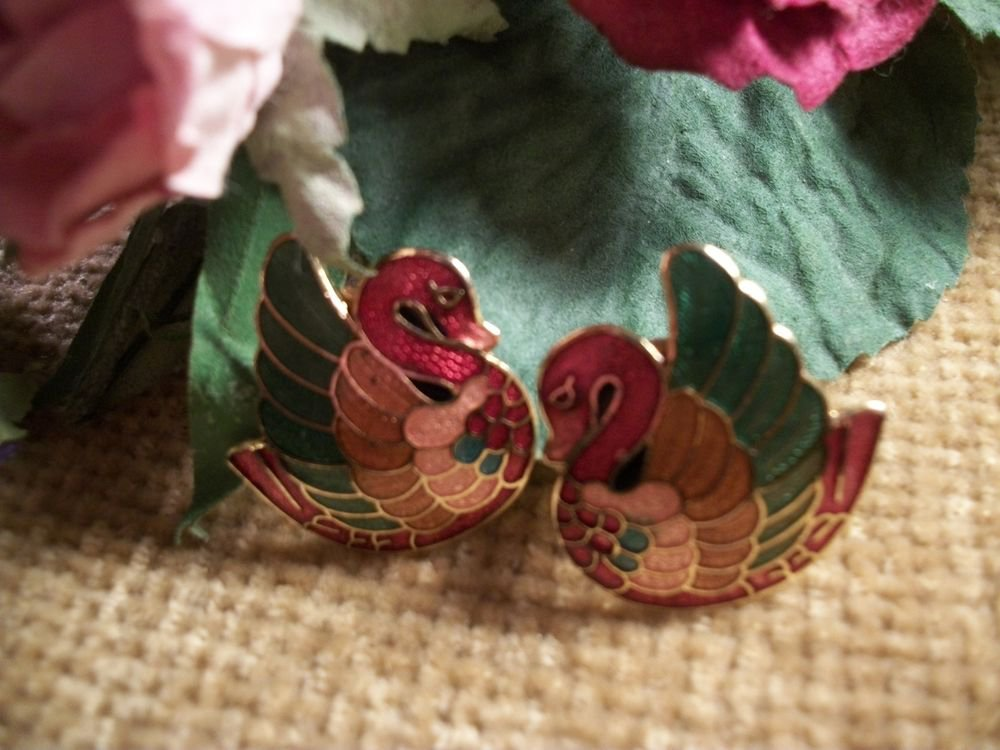 Cloisonne Enamel Clip On Earrings Vintage 1980's Fashion Jewelry