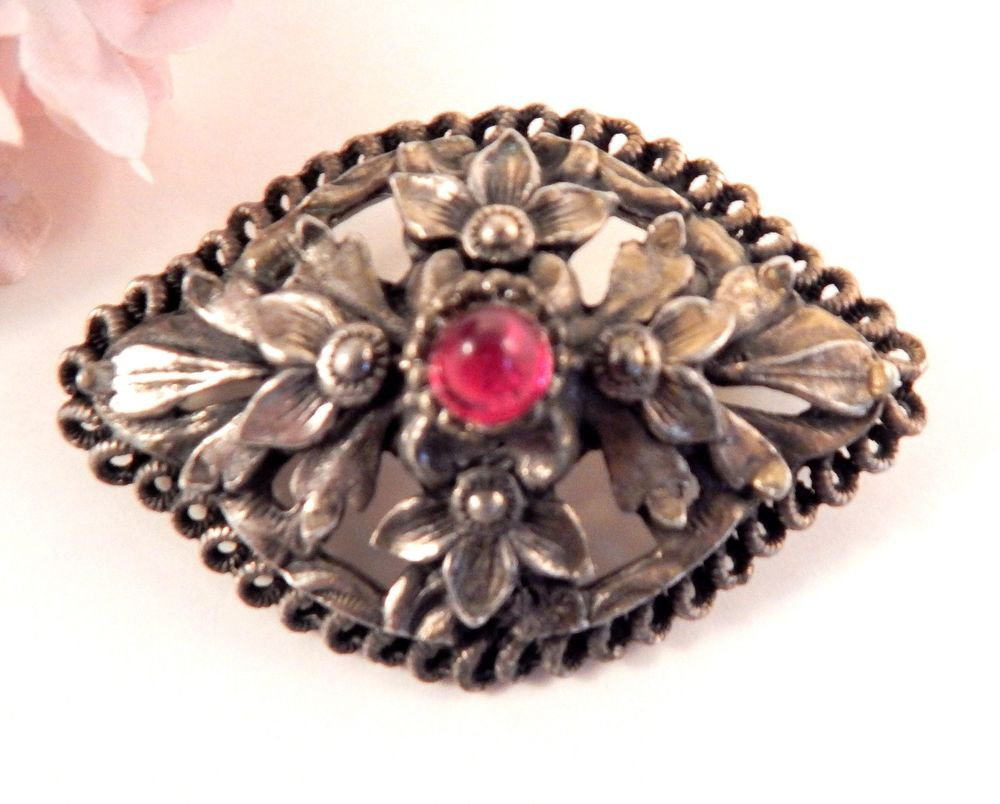 Floral Brooch Vintage Fashion Jewelry 1980s Pin Ornate Oval SIlver Metal