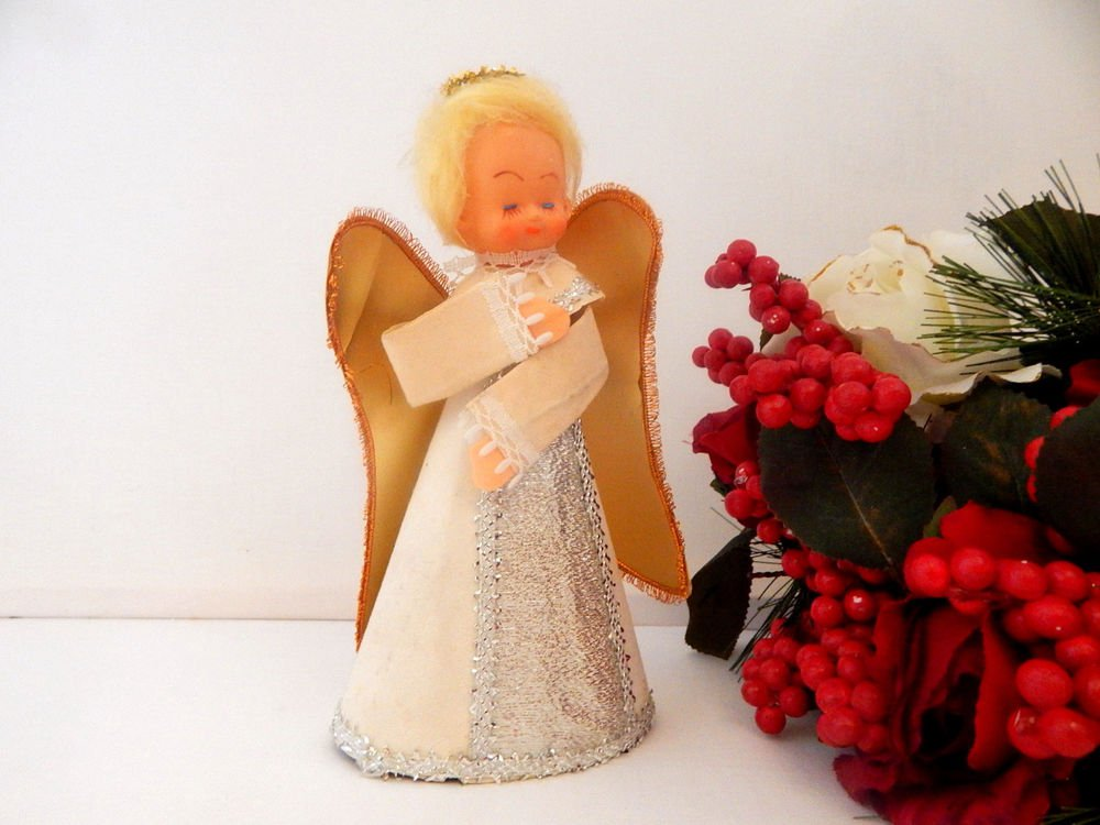 Angel Christmas Tree Top Vintage 1950s Retro Kitsch Girl Doll Figurine Ornament