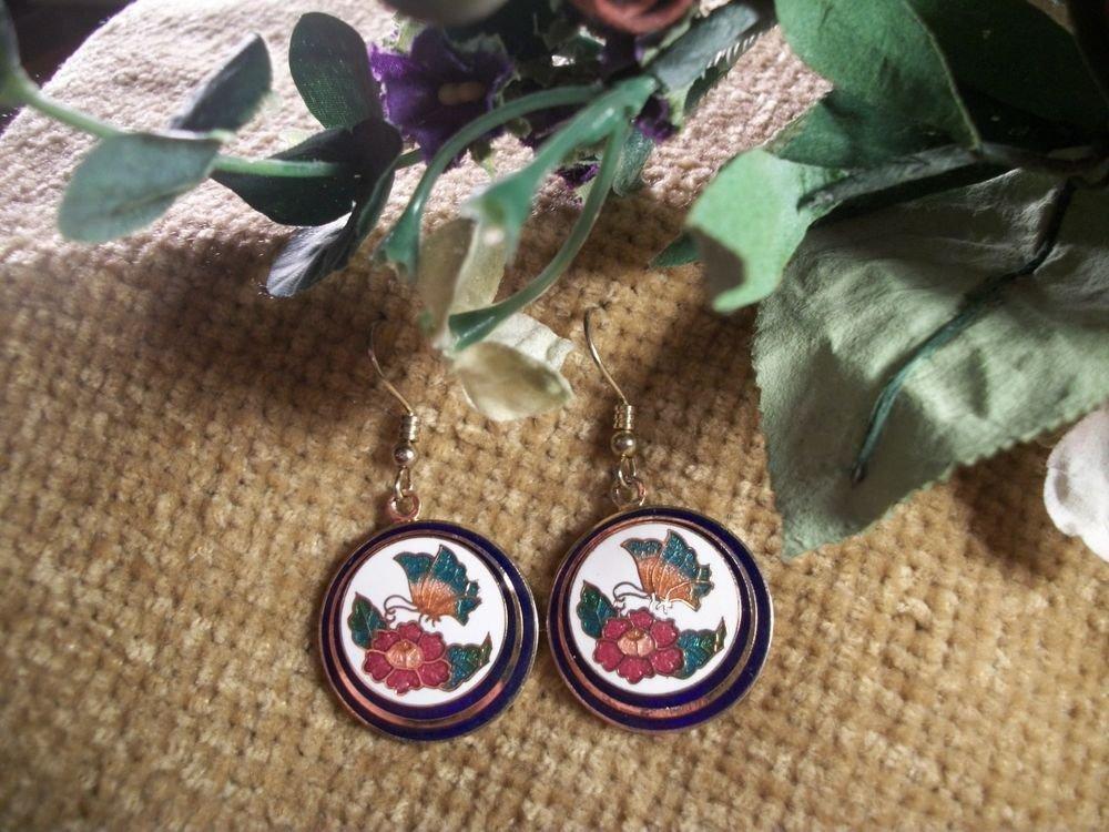 Flowers and Butterfly Cloisonne Dangle Earrings,Vintage 1980's Enamel Jewelry