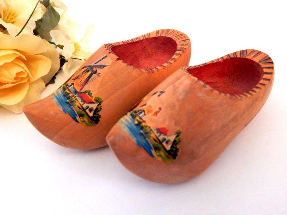 Miniature Dutch Shoes Wooden Clogs from Holland Vintage 1960's Travel Souvenir