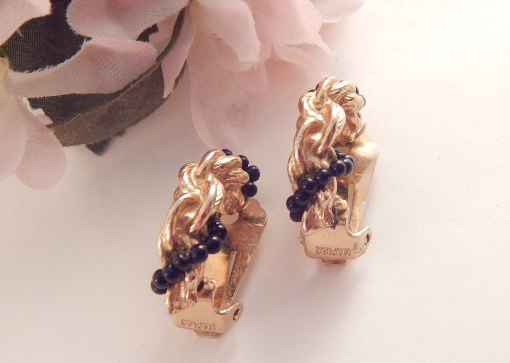 Half Hoop Clip On Earrings Elegant Gold and Black Napier Signed Vintage Jewerly