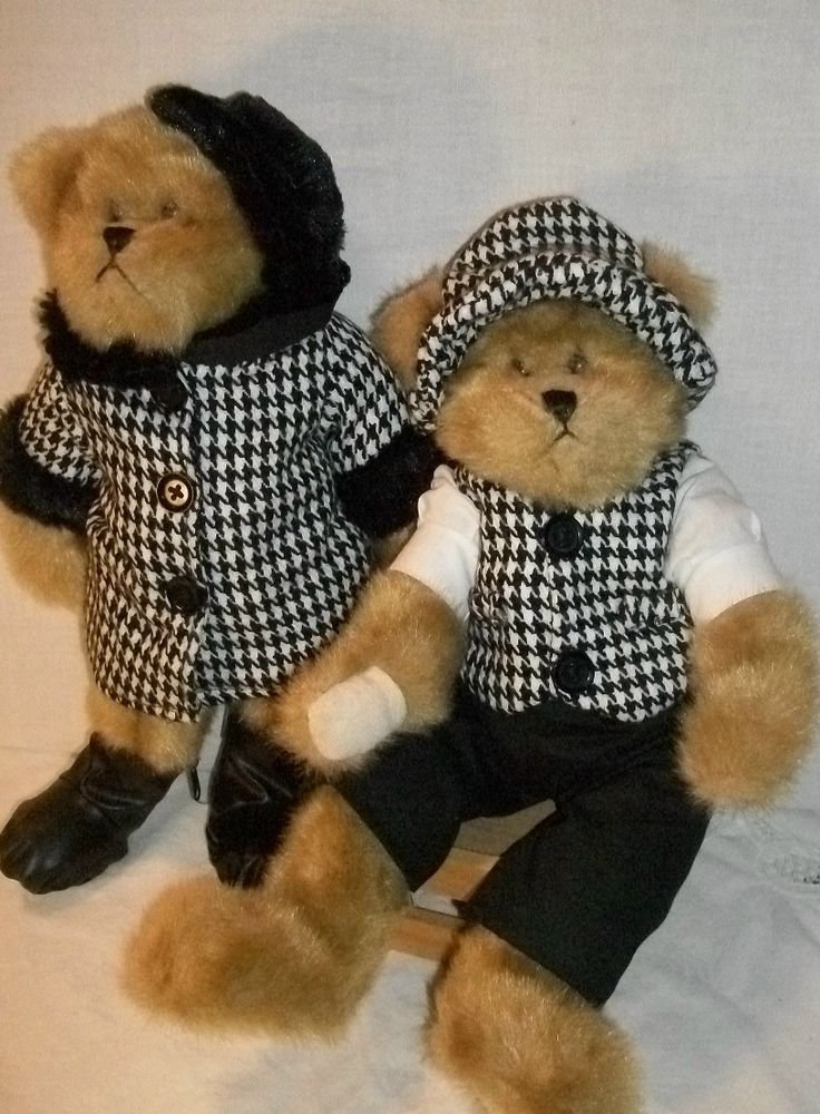 Plush Bears Dressed Parisian Style in Black and White, His and Hers Bears