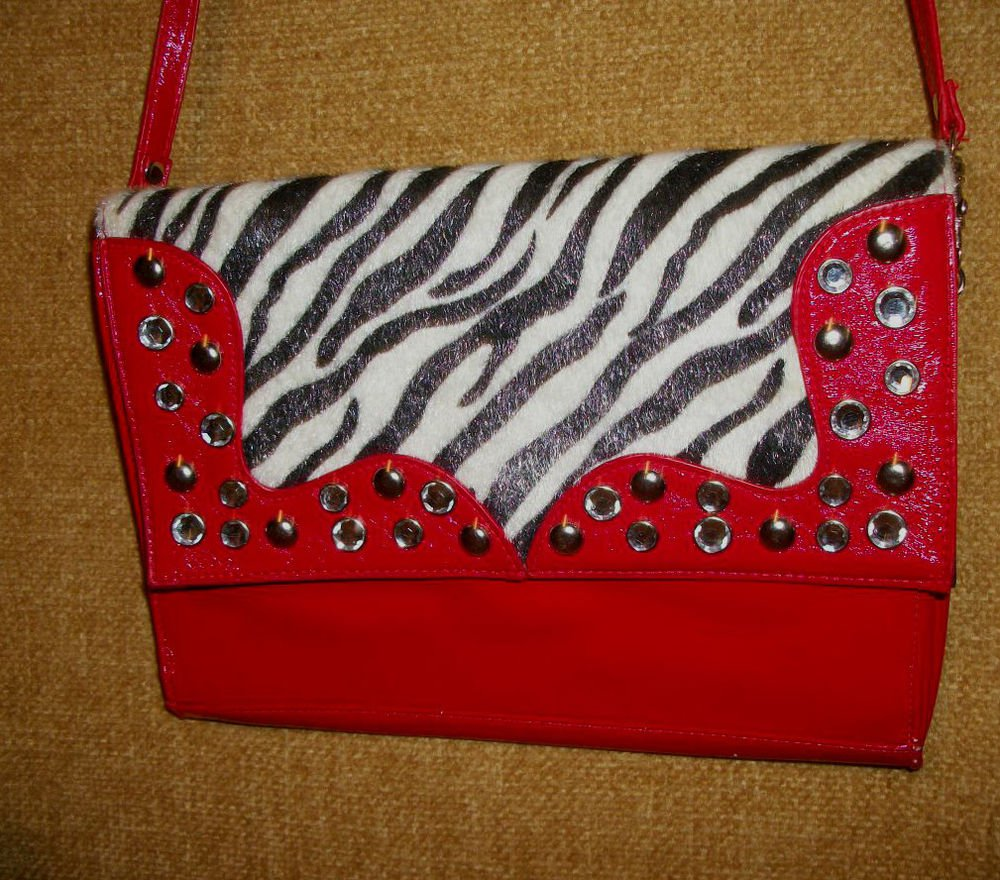 Red Patent Leather with Black and White Zebra Print Fabric Shoulder Strap Purse