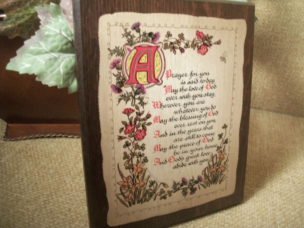 Inspirational Plaque Prayer Blessing God in You Vintage Lithograph Wood Plaque