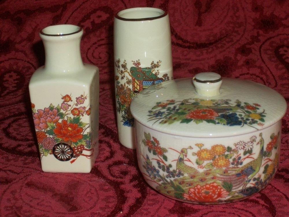 Vases Covered Dish Jewelry Trinket Box VTG 1970s Japanese Home Decor Dresser Set