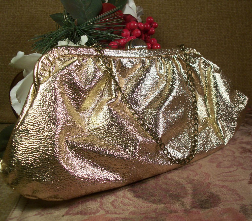 Vintage 1960's Sparkly Gold Clutch Purse Evening Bag Festive Holiday Formalwear