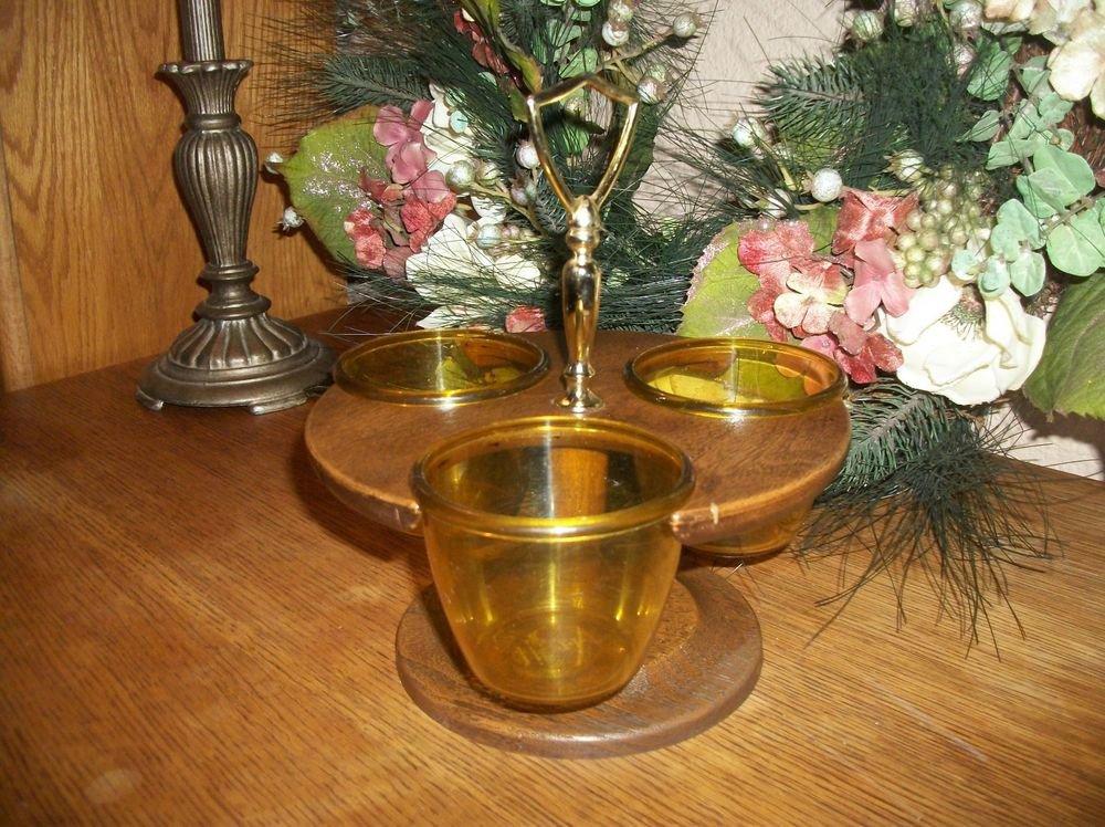 Thermo-Serv Condiment VTG 1960's Serving Set 3 Amber Plastic Bowls Swivel Base