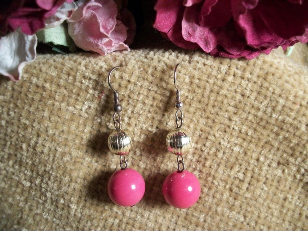 Pink Dangle Earrings Silver Metal Post Mod Beaded Jewelry Vintage 1970s Fashion