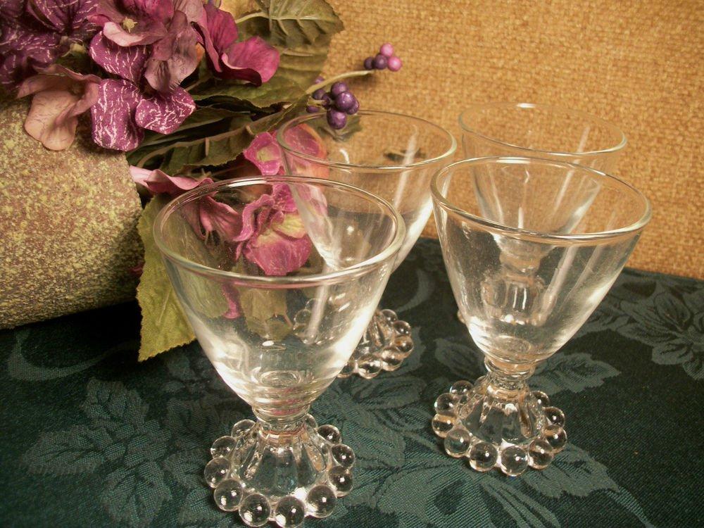 Cocktail Glasses 4 VTG 1950's Anchor Hocking Boopie Pattern Juice Wine Tableware
