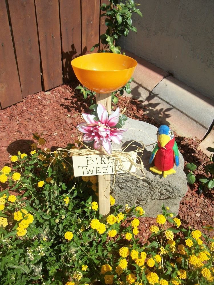 Bird Tweets Sign Bird Feeder New Handmade Orange Dish Pink White Flower Yard Art