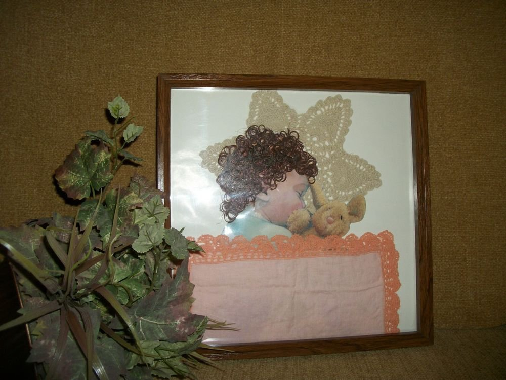 Baby's Sleeping Handcrafted Framed Art Vintage Wall Hanging Home Decor Picture
