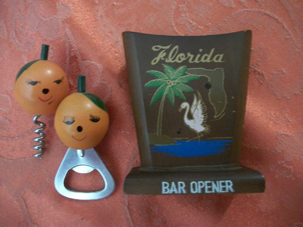 Cork Screw Bottle Opener VTG Home Bar Tools 1960's Florida Travel Souvenir