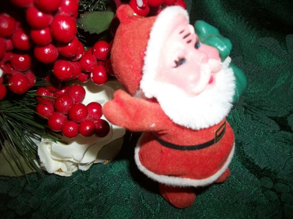Retro Santa Claus Christmas Tree Ornament Red and White 1950's Flocked Plastic
