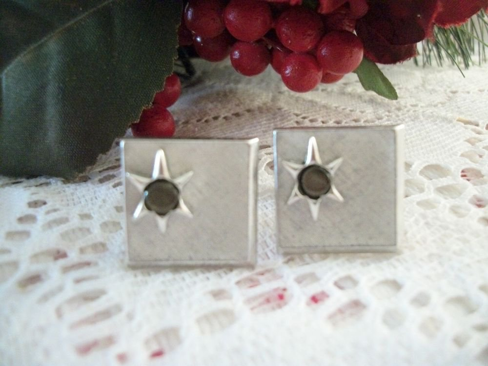Cuff Links Brushed Silver Metal Star Grey Stone Men's Formal Wear VTG Jewelry