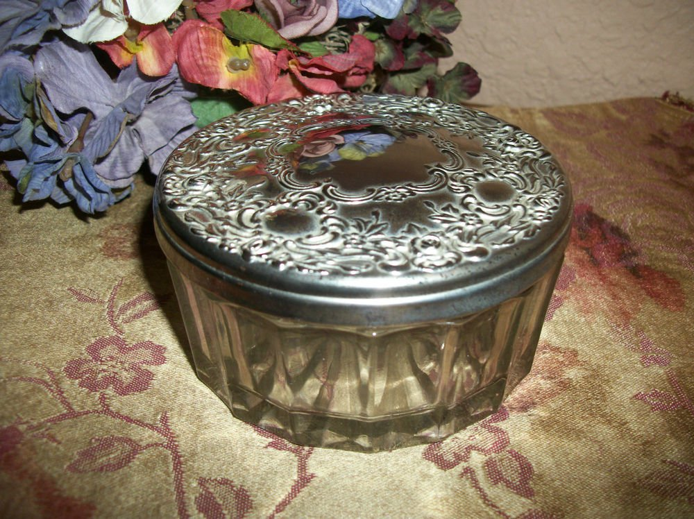 Silver Plated Jewelry Box Antique 1950's Powder Jar Vanity Table Glass Dish