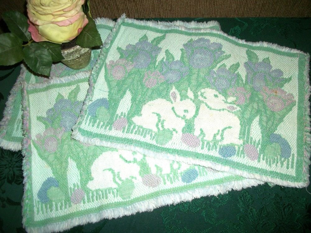 Place Mats White Rabbits Pastel Floral 3 Vintage Woven Cotton Tableware Linen