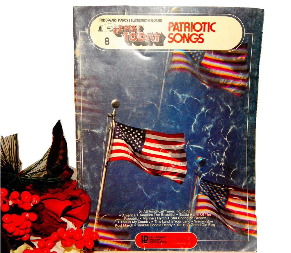 Patriotic Sing Along Song Book Vintage Easy Beginner Organ Piano Keyboard Music