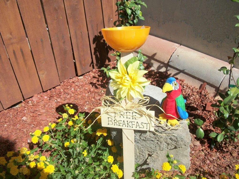 Free Breakfast Sign Bird Feeder New Handmade Orange  Dish Yellow Flower Yard Art