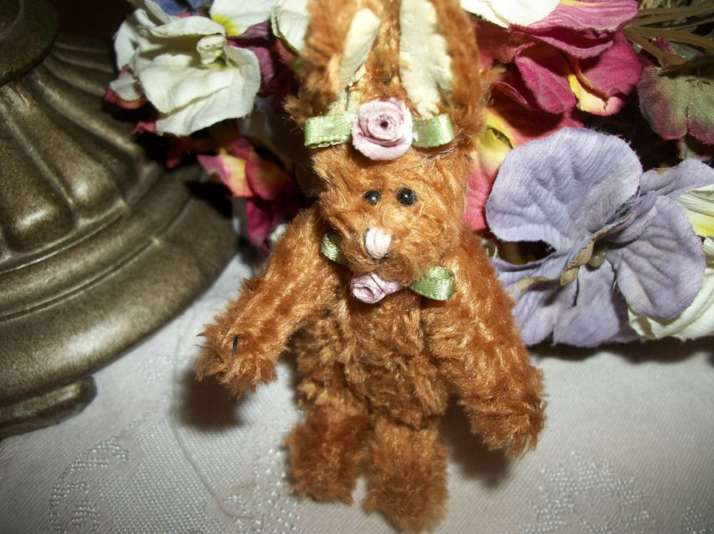 "Bunny Rabbit Stuffed Animal Vintage Miniature 4""  Brown Plush Home Decor Gift"