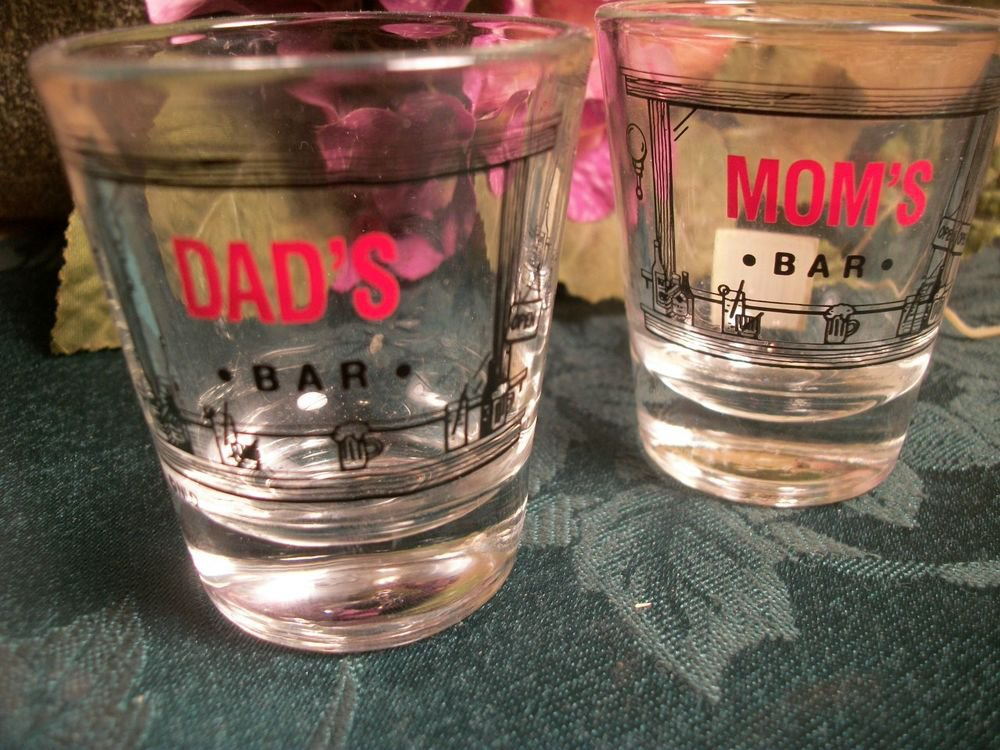 Shot Glasses Mom's Bar Dad's Bar Vintage Red and Black His and Hers Barware
