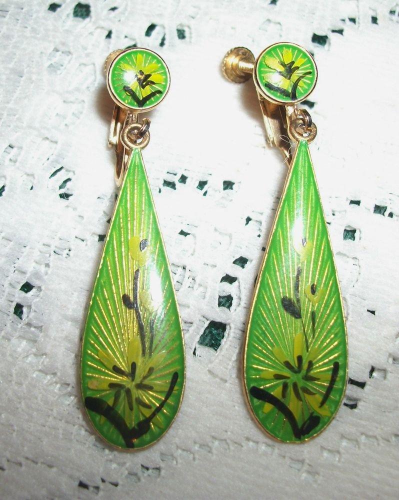 Dangle Earrings Gold Metal Clip-On Mod Green Yellow Teardrop VTG Fashion Jewelry