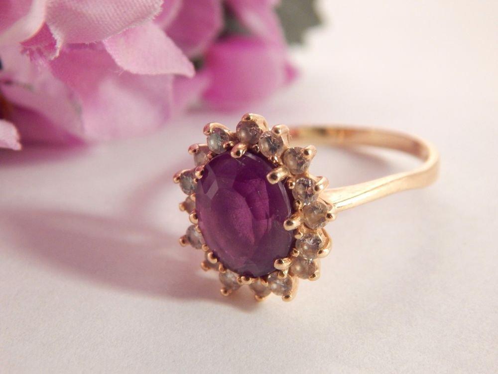 Purple Amethyst and Diamond Cocktail Ring 14kYG Fine Jewelry Vintage Gemstone