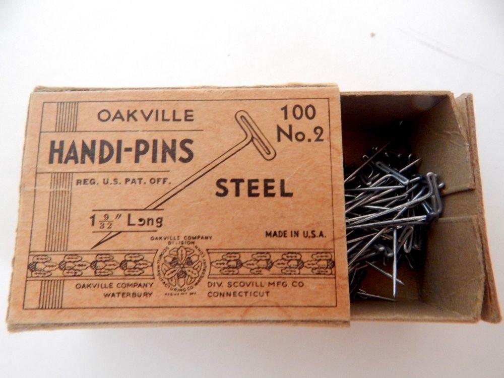 Antique Pin Box Oakville Steel Handi-Pins 1940s WWII Era Advertising Memorabilia