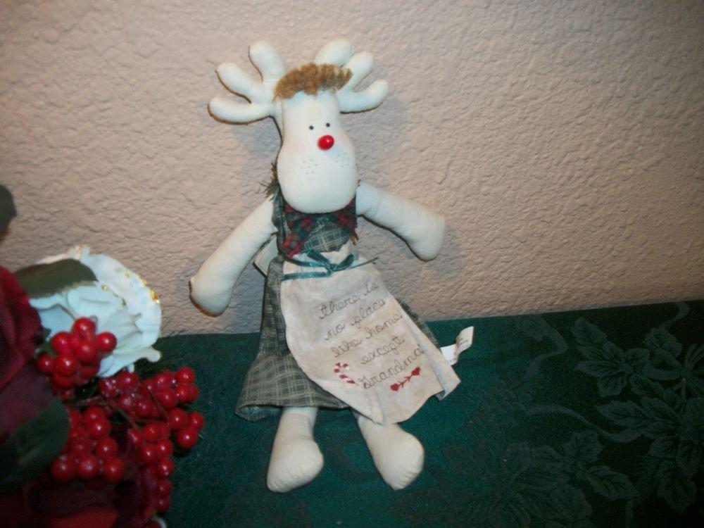 Grandma Reindeer Doll VTG Christmas Decor Music Box Plays Home for the Holidays
