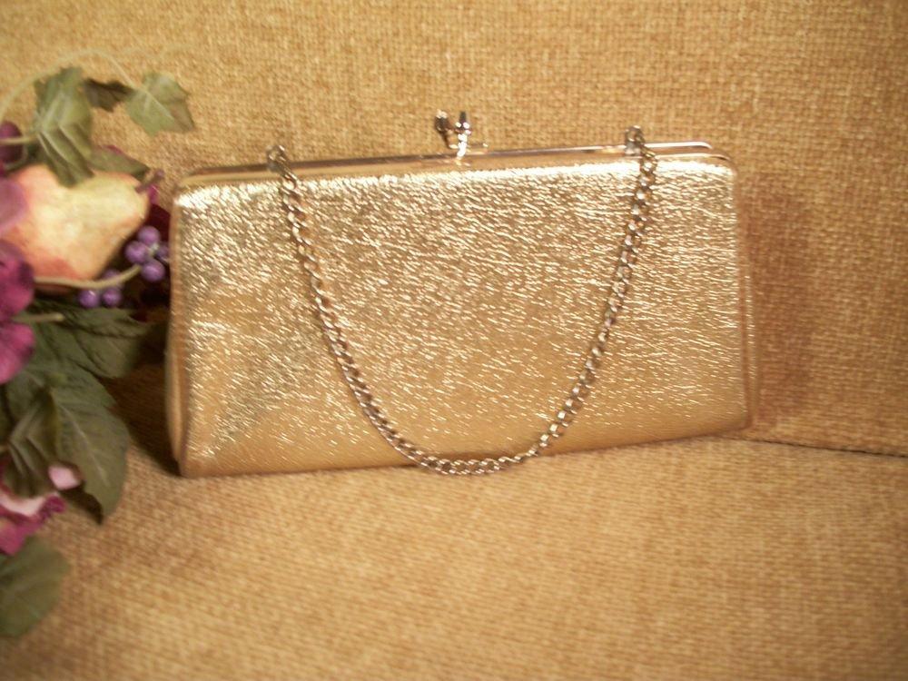Sparkly Gold Evening Bag Convertible Clutch Chain Handle Purse Vintage Handbag