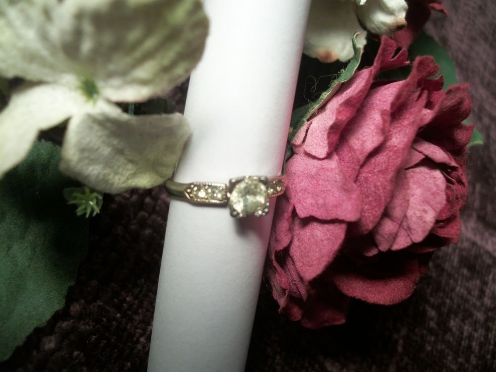 CZ Solitaire Ring Cubic Zirconia Accents 10KGF Sterling Silver Jewelry Size 6