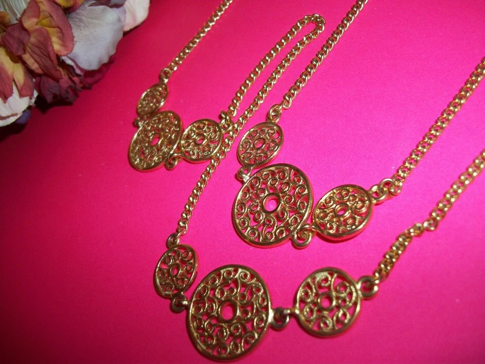 "Gold Metal Necklace Filigree Medallions 32"" Cable Chain VTG 80's Fashion Jewelry"