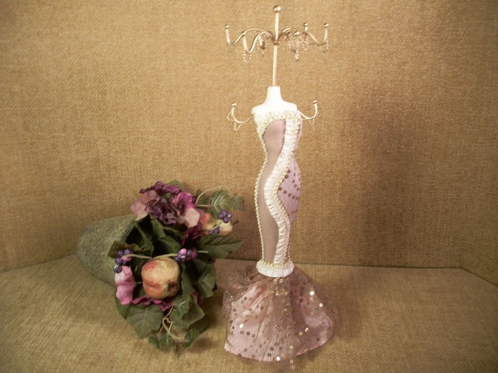 Necklace Rack Dress Form Jewelry Display Gold Metal Stand Evening Gown Mannequin