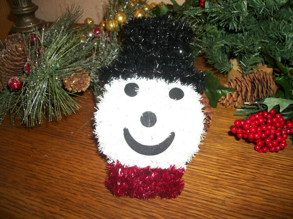 Snowman Christmas Tree Ornament Black White and Red Metallic Chenille Stems
