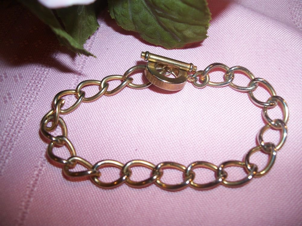 "Gold Tone Twist Chain Link Woman's 7"" Bracelet with Toggle Clasp, Charm Bracelet"