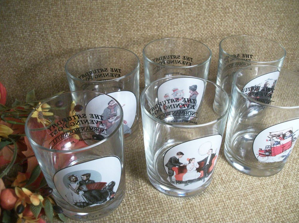Norman Rockwell Saturday Evening Post Beverage Cocktail Glasses Vintage Barware