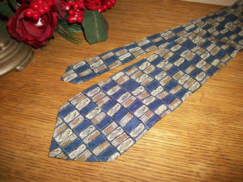 Oscar de la Renta Silk Tie Blue Beige Gold Necktie USA Made Mens VTG Fashion
