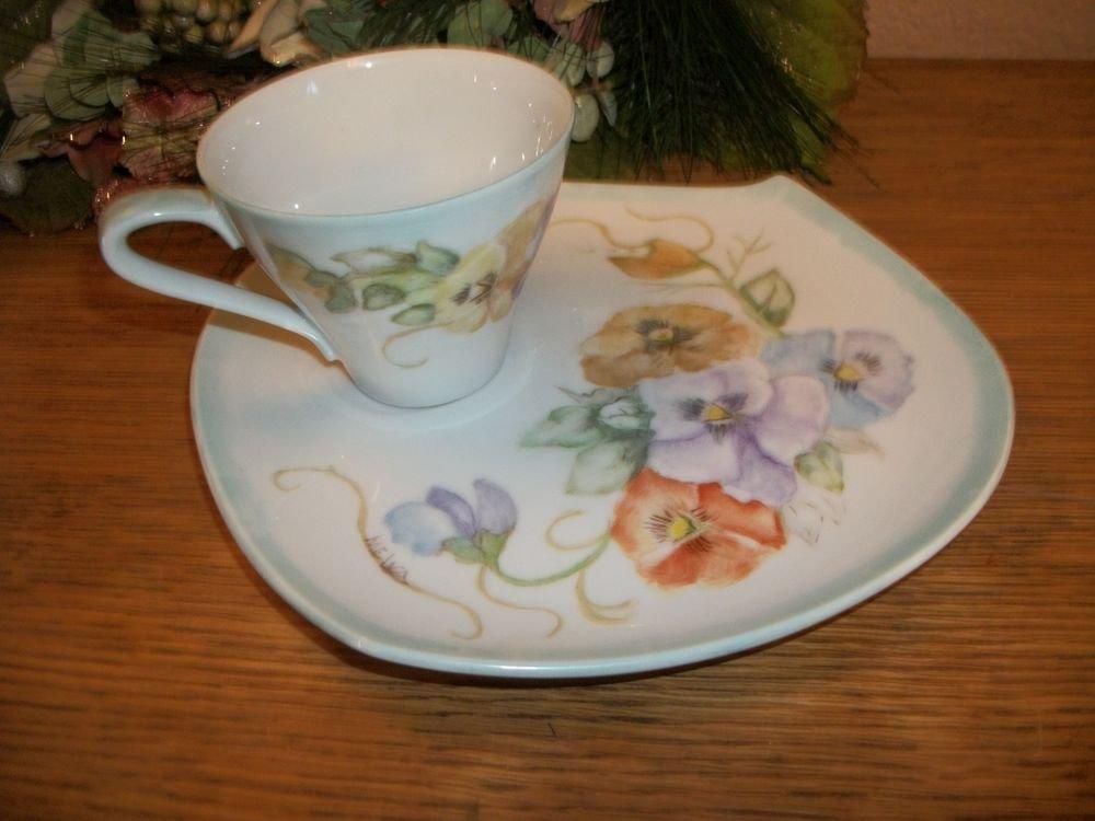 Tea or Coffee Cup Dessert Plate Set VTG 1960's Hand Painted Porcelain Floral