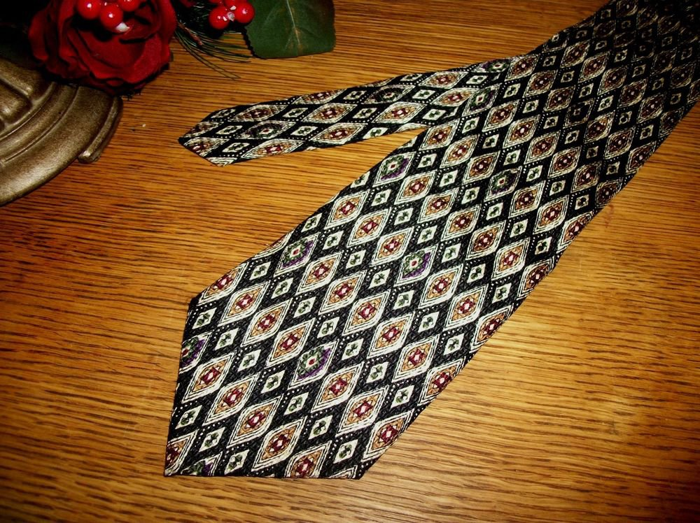 Burma Bibas Silk Tie Black and Gold Diamond Geometric VTG Mens Designer Necktie