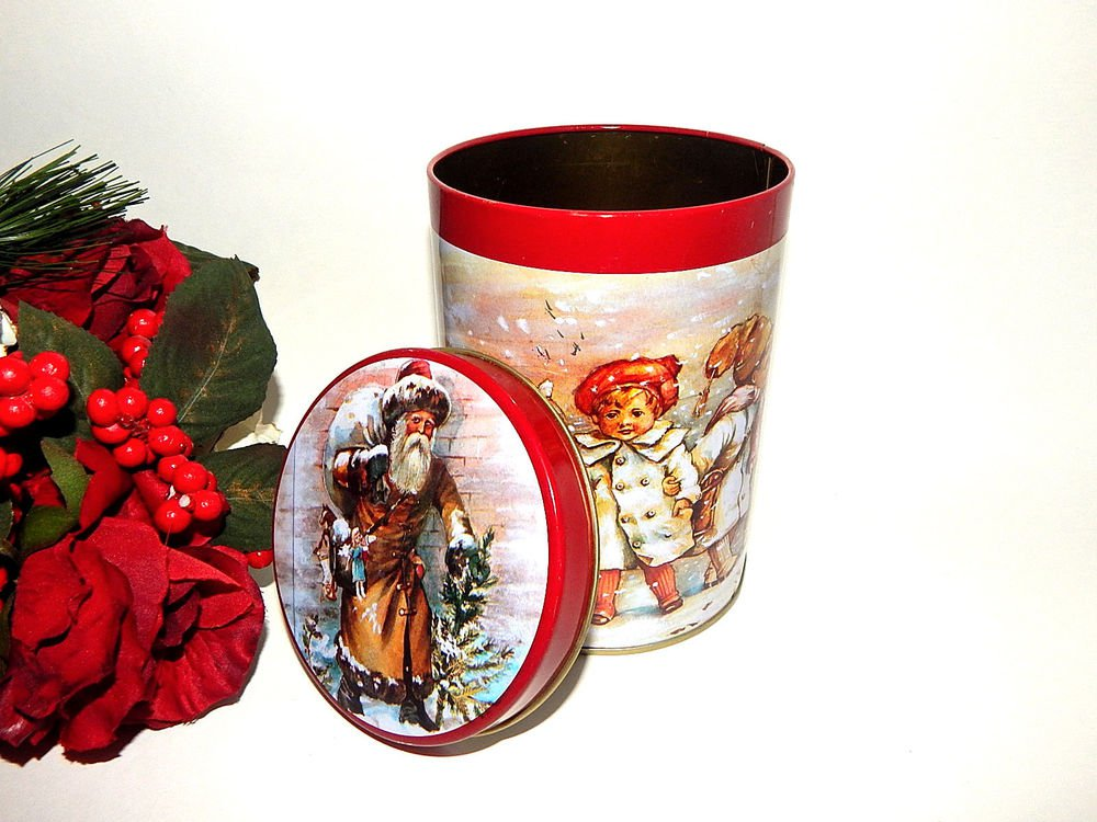 Victorian Santa Claus and Children Cookie Tin Vintage Christmas Gift Canister