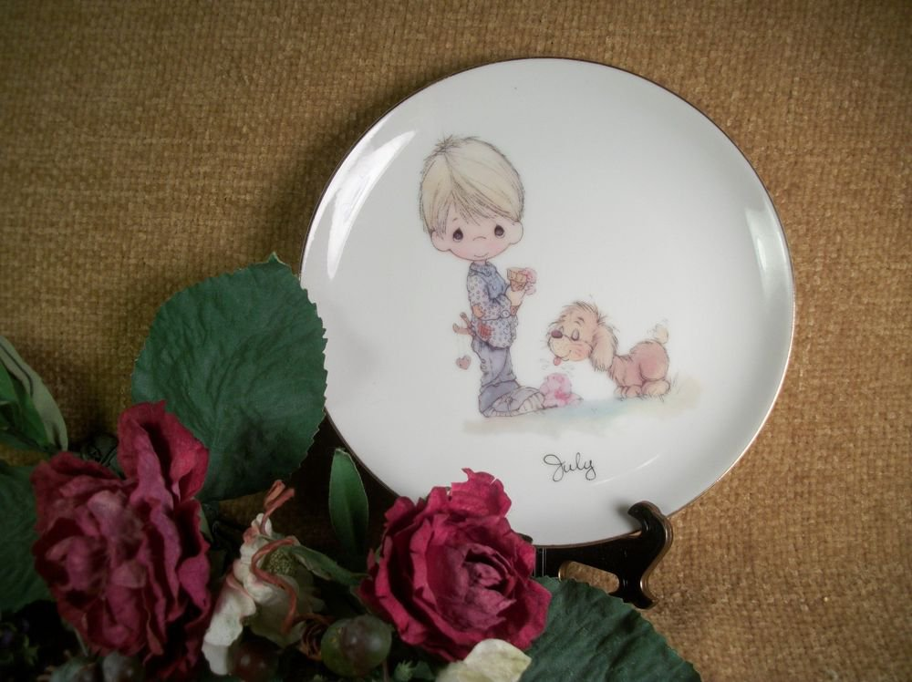 Vintage Enesco Precious Moments Wall Plate Jonathan and David Boy Dog Puppy