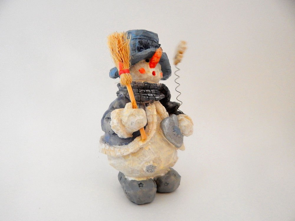 Snowman Figurine Rustic Carved Wood Style Resin Blue and White Christmas Decor