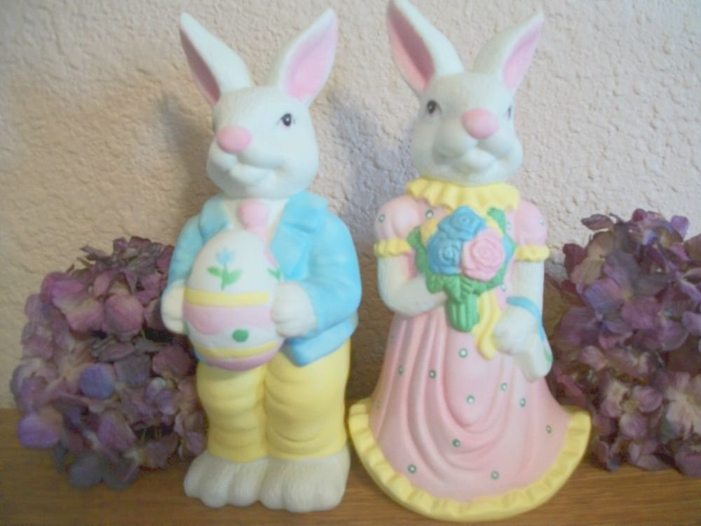 Bunny Couple Figurines He She White Rabbits Hand Painted Ceramic VTG Home Decor