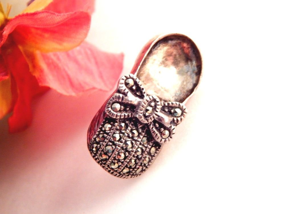 Marcasite Shoe Pin 925 Silver Brooch Girl's Mary Jane Style Miniature Slipper