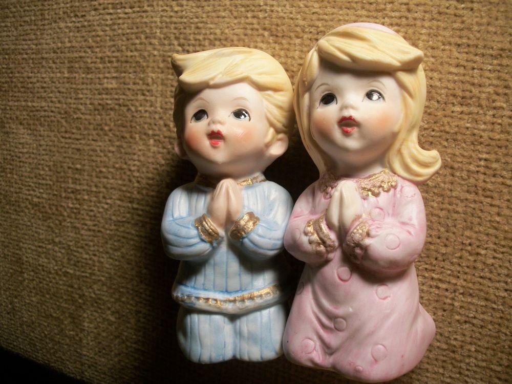 Vintage Homco Praying Children Boy Girl Porcelain Figurines Child's Room Decor