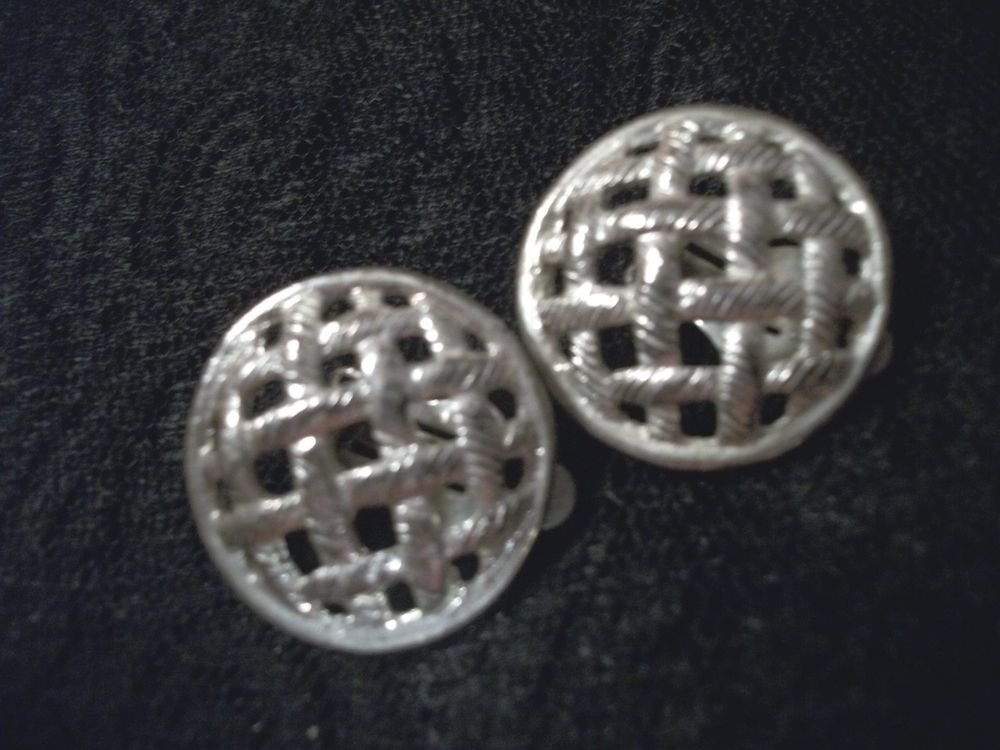 Silver Metal Earrings Open Basket Weave Round Clio-On 1960's Vintage Jeweley