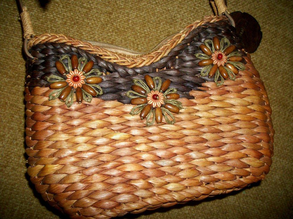 SunNSand Woven Palm Leaf Beaded Handbag Beach Resort Boho Leather Strap Purse